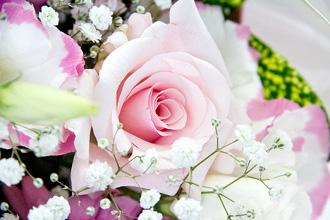 かわいらしいサイズのピンクの花束です。
